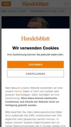 Vorschau der mobilen Webseite www.handelsblatt.com, handelsblatt.com