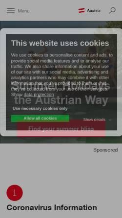 Vorschau der mobilen Webseite www.austria.info, Austria - Österreich lädt Sie ein