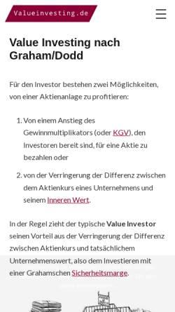 Vorschau der mobilen Webseite www.valueinvesting.de, Valueinvesting.de