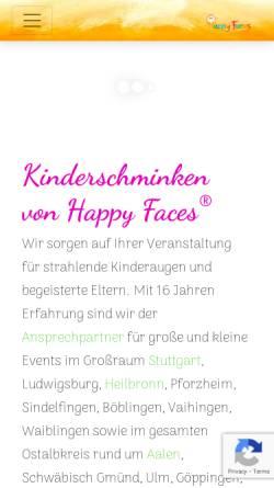 Vorschau der mobilen Webseite happyfaces-kinderschminken.de, Happy Faces® - Für das schönste Kinderlächeln