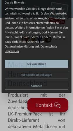 Vorschau der mobilen Webseite www.lk-premiumpack.de, LK PremiumPack