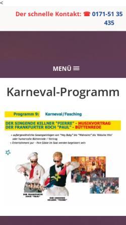 Vorschau der mobilen Webseite www.fasching-carneval-musik-vortrag.de, Der Musik Vortrag Fasching-Carneval-Kampagne