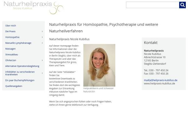 Vorschau von www.heilpraxis-kubillus.de, Naturheilpraxis Nicole Kubillus, Berlin-Steglitz