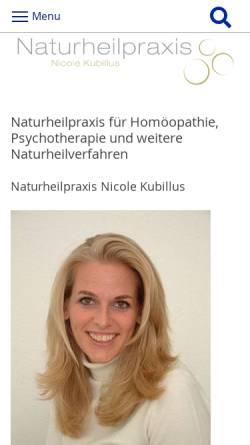 Vorschau der mobilen Webseite www.heilpraxis-kubillus.de, Naturheilpraxis Nicole Kubillus, Berlin-Steglitz