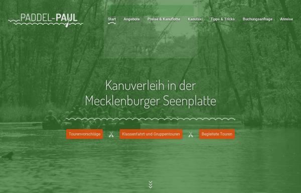 Vorschau von www.paddel-paul.de, Paddel Paul: Kanuverleih Mecklenbugischen Seenplatte