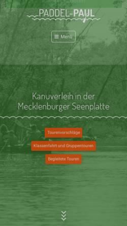 Vorschau der mobilen Webseite www.paddel-paul.de, Paddel Paul: Kanuverleih Mecklenbugischen Seenplatte