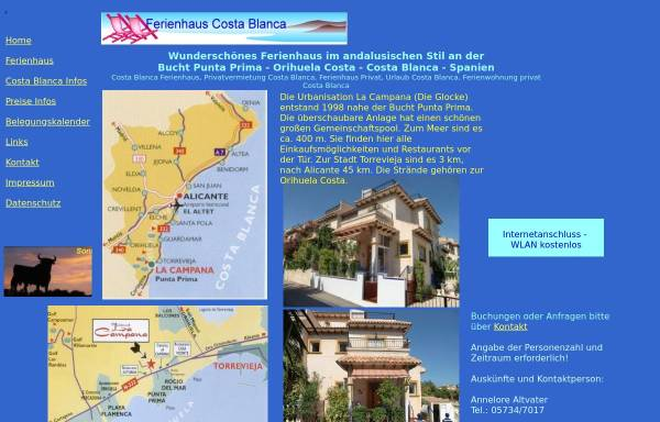 Vorschau von www.sonnenland-spanien.de, Wunderschönes Ferienhaus im andalusischen Stil an der Costa Blanca