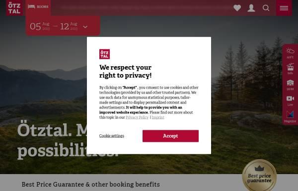 Vorschau von www.oetztal.com, Urlaub in Tirol - Ötztal