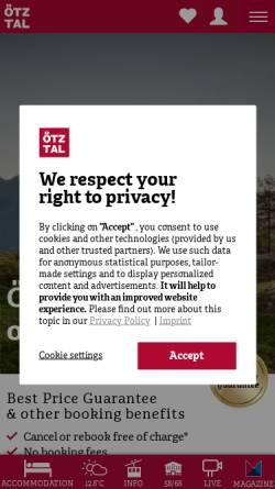 Vorschau der mobilen Webseite www.oetztal.com, Urlaub in Tirol - Ötztal