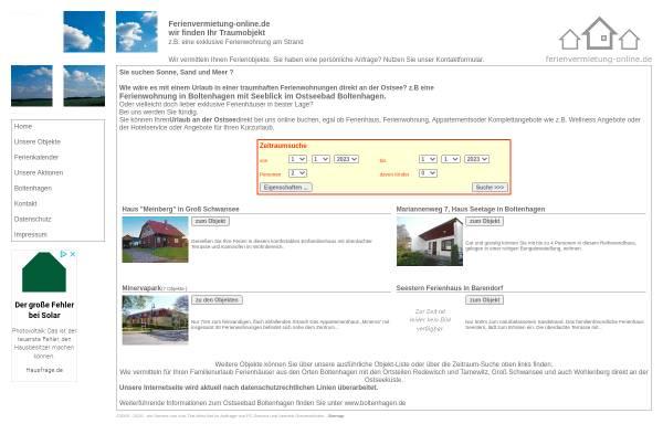 Vorschau von www.ferienvermietung-online.de, Boltenhagen - Ihr Ostsee Urlaub direkt am Strand