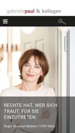 Vorschau der mobilen Webseite www.gabriele-paul.de, Kanzlei Gabriele Paul in Erlangen