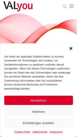 Vorschau der mobilen Webseite www.valyou.de, VALyou Software GmbH