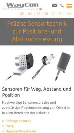 Vorschau der mobilen Webseite www.waycon.de, Waycon Positionsmesstechnik
