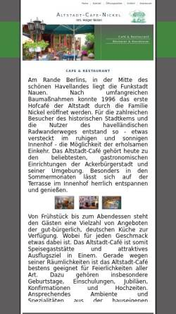 Vorschau der mobilen Webseite www.altstadt-cafe-nickel.de, Altstadt-Cafe Nickel in Nauen