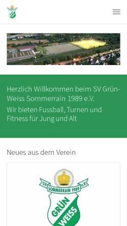 Vorschau der mobilen Webseite www.gruen-weiss-sommerrain.de, SV Grün-Weiss Sommerrain 1989 e.V.