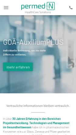 Vorschau der mobilen Webseite www.permed.de, PERmed Gesundheitsprodukte GmbH
