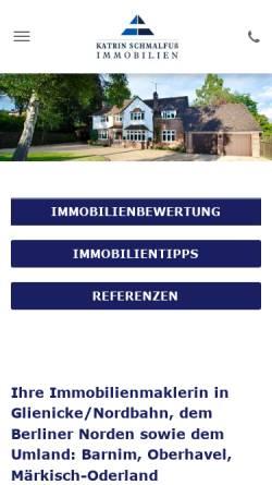 Vorschau der mobilen Webseite www.schmalfuss-immobilien.de, Katrin Schmalfuß Immobilien