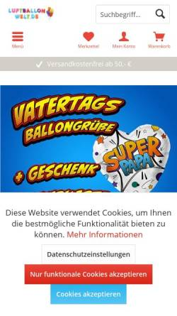 Vorschau der mobilen Webseite www.luftballonwelt.de, Luftballonwelt