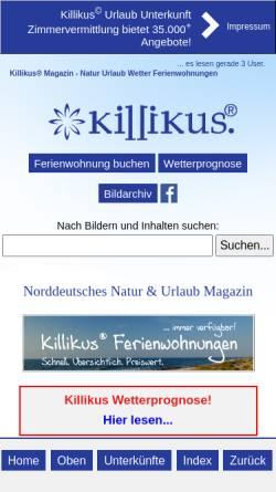 Vorschau der mobilen Webseite www.killikus.de, Urlaub und Reisen in Norddeutschland - Killikus