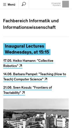 Vorschau der mobilen Webseite www.inf.uni-konstanz.de, Universität Konstanz: Fachbereich Informatik & Informationswissenschaft