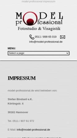 Vorschau der mobilen Webseite www.model-professional.de, model-professional.de