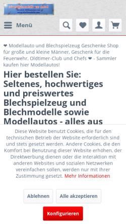 Vorschau der mobilen Webseite www.blechmodelle.com, blechmodelle.com - Nostalgiemodelle aus Blech