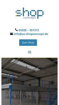 Vorschau der mobilen Webseite www.az-shopconcept.de, Tegometall Ladeneinrichtungen, Servicecenter Berlin