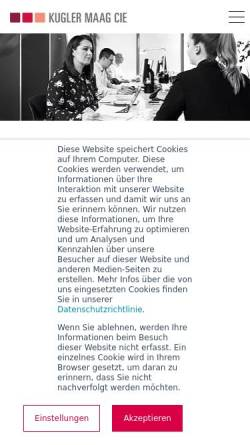 Vorschau der mobilen Webseite www.kuglermaag.de, Kugler Maag Cie GmbH