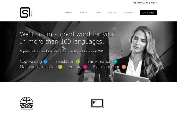Vorschau von www.supertext.ch, Supertext - Online Text Tuning
