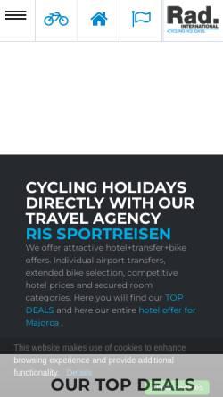 Vorschau der mobilen Webseite www.rad-international.com, Rad-International Sportreisen
