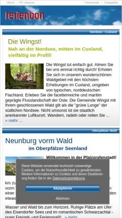 Vorschau der mobilen Webseite www.ferienbon.de, ferienbon.de - der schönste Urlaub, die besten Ferien ...