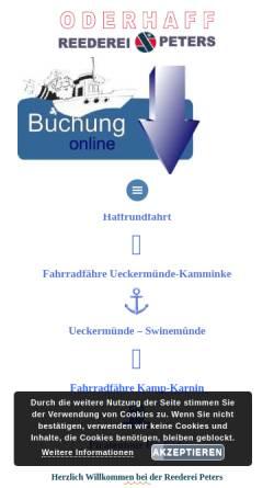 Vorschau der mobilen Webseite www.reederei-peters.de, Oderhaff Reederei Peters