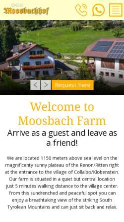 Vorschau der mobilen Webseite www.moosbachhof.it, Moossbachof - Ferienwohnung auf dem Bauernhof in Südtirol