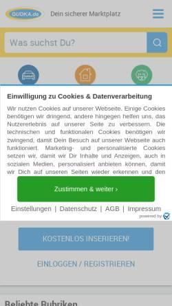Vorschau der mobilen Webseite www.quoka.de, Quoka Verlag GmbH