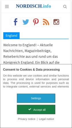 Vorschau der mobilen Webseite www.england-seiten.de, Informationen über England: Grafschaften, Städte, Arbeiten und Leben