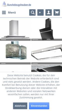 Vorschau der mobilen Webseite www.dunstabzugshauben.de, Dunstabzugshauben