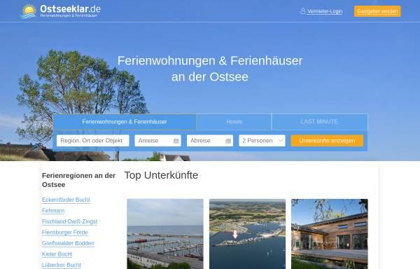 Vorschau von www.ostseeklar.de, Ostseeklar - Ihr Ferienhaus an der Ostsee