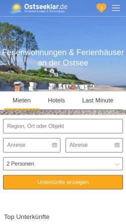 Vorschau der mobilen Webseite www.ostseeklar.de, Ostseeklar.de - Ihr Ferienhaus an der Ostsee