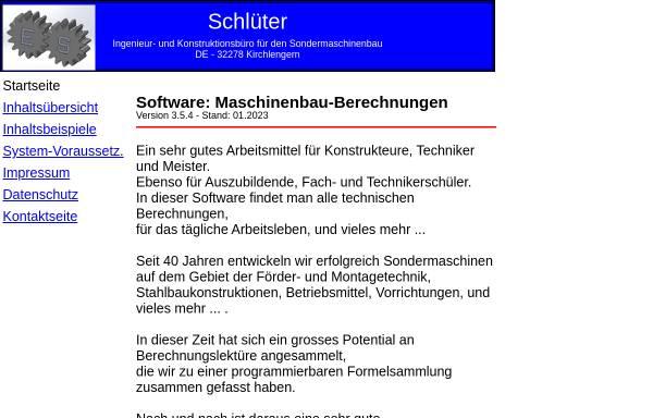 Vorschau von www.maschinenbau-berechnungen.de, Erich Schlüter - Ingenieur- und Konstruktionsbüro