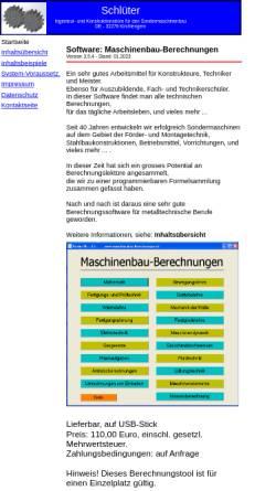 Vorschau der mobilen Webseite www.maschinenbau-berechnungen.de, Erich Schlüter - Ingenieur- und Konstruktionsbüro