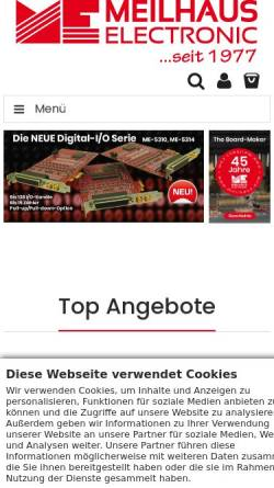 Vorschau der mobilen Webseite www.meilhaus.de, PC Messtechnik - Meilhaus Electronic GmbH