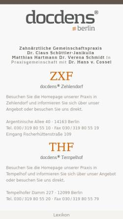 Vorschau der mobilen Webseite www.docdens.de, Zahnarzt Dr. Schüttler-Janikulla & Partner - Zahnarzt und Implantologe MSc