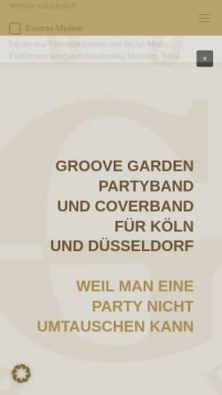 Vorschau der mobilen Webseite www.groovegarden.de, GROOVE GARDEN - Galaband und Partyband aus Köln-Bonn