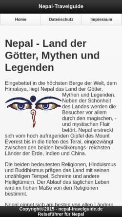Vorschau der mobilen Webseite www.nepal-travelguide.de, Nepal Travelguide
