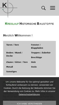 Vorschau der mobilen Webseite www.kreislaufkirchheim.de, Kreislauf - Historischer Baumarkt