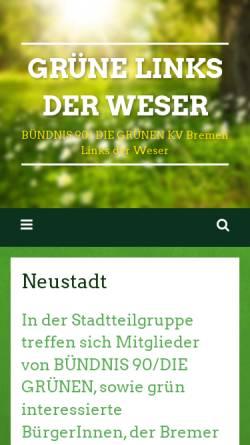 Vorschau der mobilen Webseite www.gruene-neustadt.de, Stadtteilgruppe Neustadt - Grüne Bremen Links der Weser