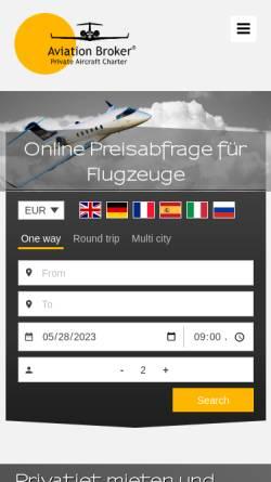 Vorschau der mobilen Webseite www.aviation-broker.com, Business Jet