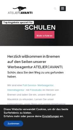 Vorschau der mobilen Webseite www.atelier-avanti.de, ATELIER AVANI - Ihre Werbeagentur im Herzen von Bremen