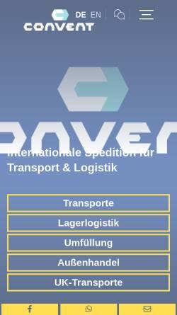 Vorschau der mobilen Webseite www.conventgmbh.de, Convent Spedition GmbH - Transport- und Logistikunternehmen