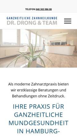 Vorschau der mobilen Webseite www.zahnarzthamburg.com, Angstfreie Zahnbehandlung - Praxis Dr. Drong